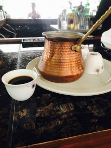turkish coffee at evelyns outdoor bar